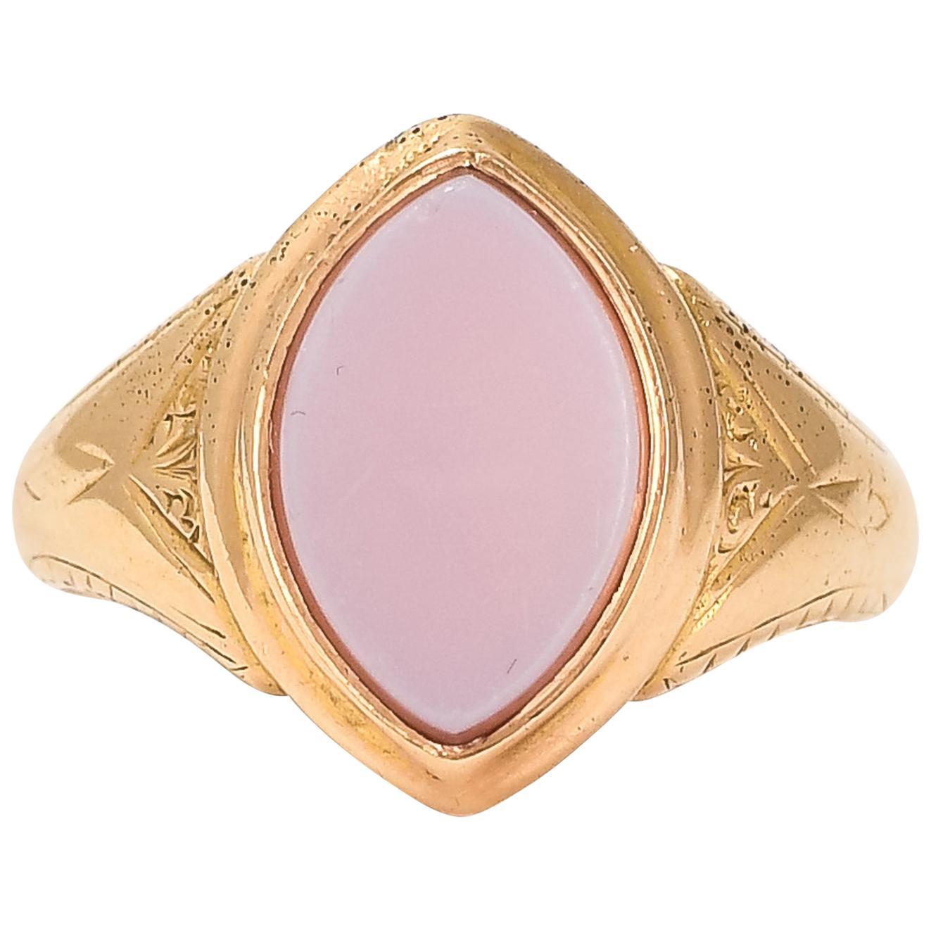 Antique Victorian Sardonyx Navette Signet Ring