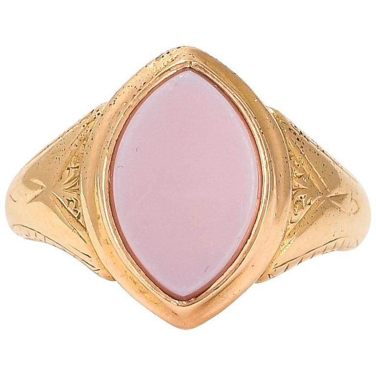 Antique Victorian Sardonyx Navette Signet Ring For Sale