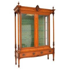 Antique Victorian Satinwood Display Cabinet