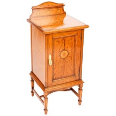 Antique Victorian Satinwood & Inlaid Bedside Cabinet, 19th Century