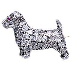 Antique Victorian Scotch Terrier Puppy Dog Diamond Ruby Silver Gold Brooch