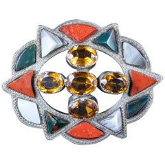 Antique Victorian Scottish Citrine Agate Brooch Silver Dated 1868