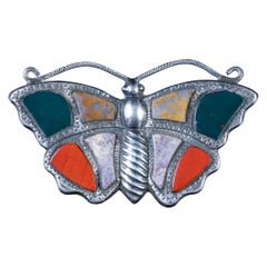 Antique Victorian Scottish Butterfly Brooch Agate Silver, circa 1860