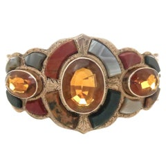 Antique Victorian Scottish Gem Stone Inlay Rose Gold Bangle Bracelet