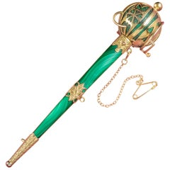 Antique Victorian Scottish Malachite 18 Carat Gold, circa 1860 Sword Brooch