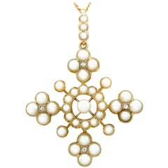 Antique Victorian Seed Pearl and Diamond Yellow Gold 'Cross' Pendant