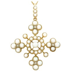 Antique Victorian Seed Pearl and Diamond Yellow Gold Cross Pendant