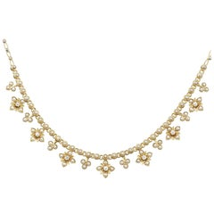 Antique Victorian Seed Pearl and Diamond Yellow Gold Necklace