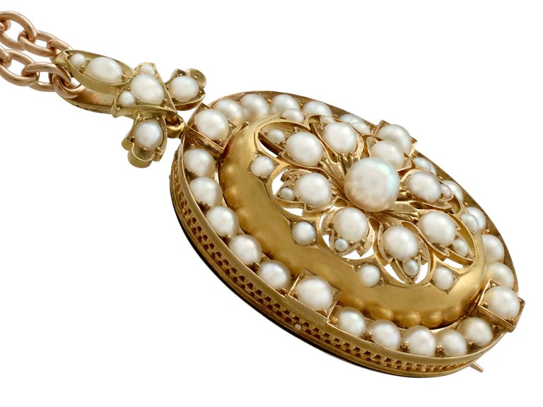 Antique Victorian Seed Pearl and Yellow Gold Pendant Brooch For Sale 2