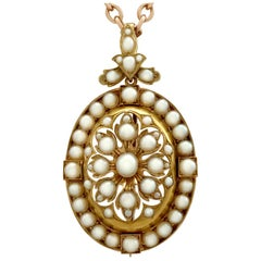Antique Victorian Seed Pearl and Yellow Gold Pendant Brooch