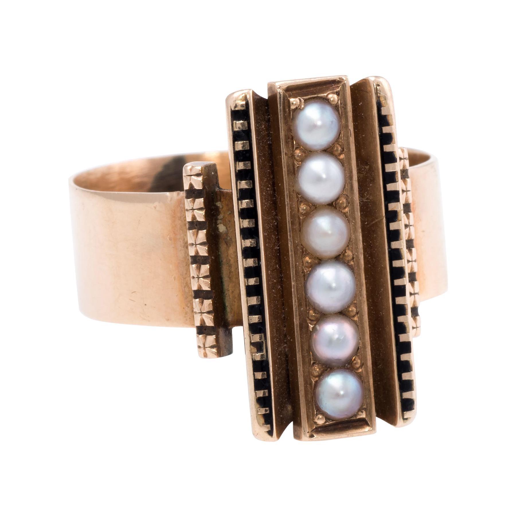 Antique Victorian Seed Pearl Enamel Ring Vintage 14 Karat Gold Estate Jewelry