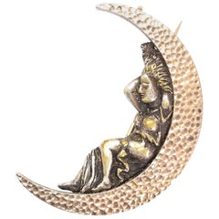 Antique Victorian Selene Crescent Moon Pendant Brooch