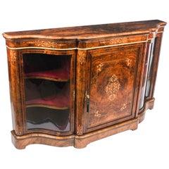 Antique Victorian Serpentine Inlaid Burr Walnut Credenza Side Cabinet