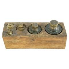 Antique Victorian Set, 5 Graduated Brass Weights, Scotland 1870 645