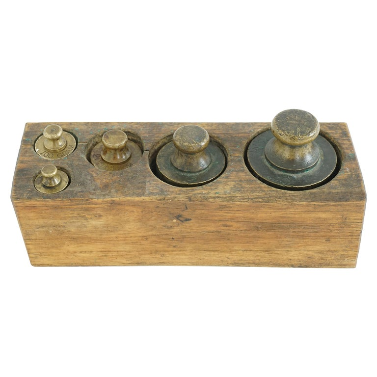 Antique Victorian Set, 5 Graduated Brass Weights, Scotland 1870 645 For Sale