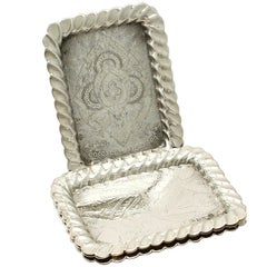 Antique Victorian Set of Four Sterling Silver Playing Card Trays