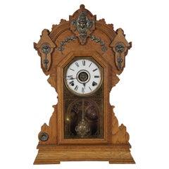 Antique Victorian Seth Thomas Quartersawn Oak Mantel Clock Ormolu