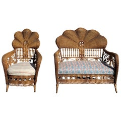 Antique Victorian Shellback Wicker Settee and Chair