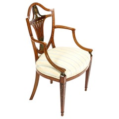 Antique Victorian Sheraton Revival Painted Satinwood Armchair, 19th Century