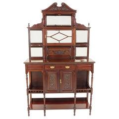 Antique Victorian Side Cabinet, Mahogany Display Cabinet, Scotland 1880, B2506