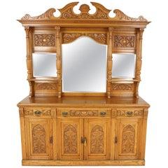Antique Victorian Sideboard, Carved Oak, Mirror Back Buffet, Scotland 1890 B2103