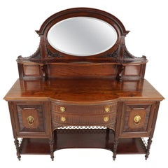 Antique Victorian Sideboard, Walnut, Mirror Back, Buffet, Scotland 1890, B1932