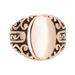 Antique Victorian Signet Ring 10k Rose Gold Vintage Pinky Jewelry Estate
