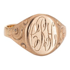 Antique Victorian Signet Ring 14 Karat Rose Gold Vintage Pinky Jewelry Estate