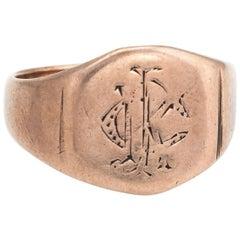 Antique Victorian Signet Ring 9 Karat Rose Gold Vintage Fine Jewelry Old