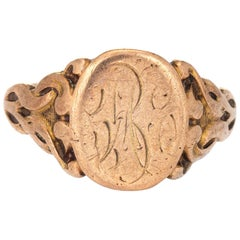 Antique Victorian Signet Ring Vintage 10 Karat Gold Oval Chased Fine Jewelry
