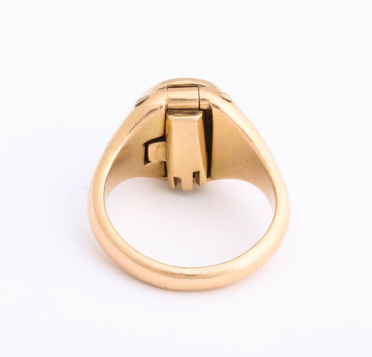 Women's or Men's Antique Victorian Signet Ring with Hidden Key Attached For Sale