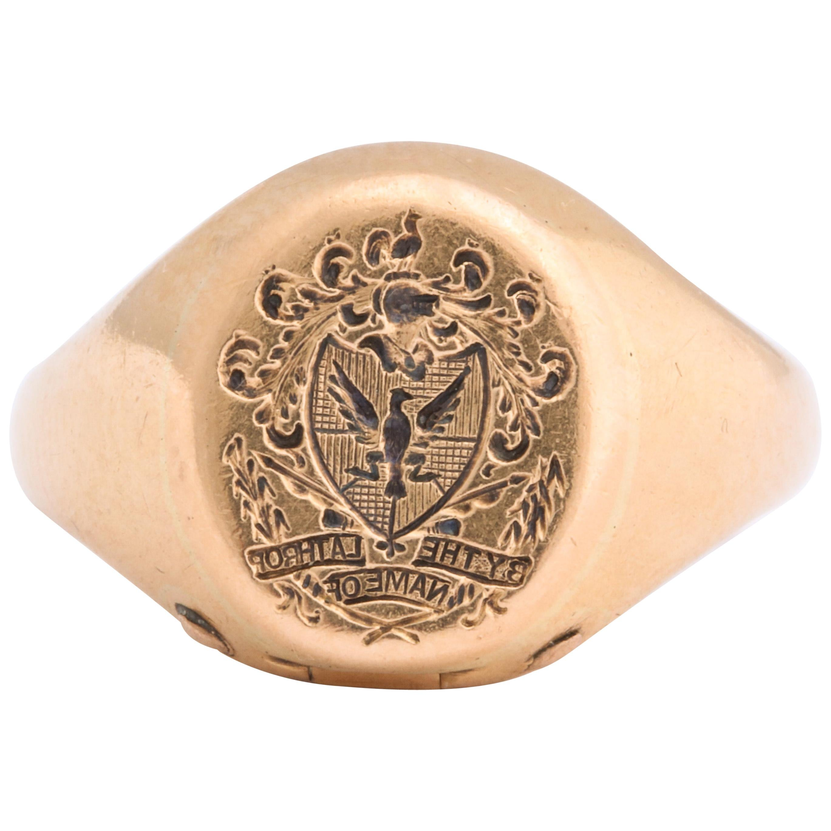 Antique Victorian Signet Ring with Hidden Key Attached
