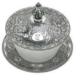 Antique Victorian Silver and Glass Butter Dish 1856 Serving Dish