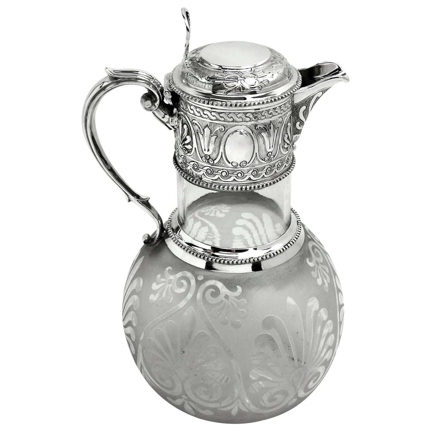 Antique Victorian Silver and Glass Claret Jug / Wine Jug, 1864