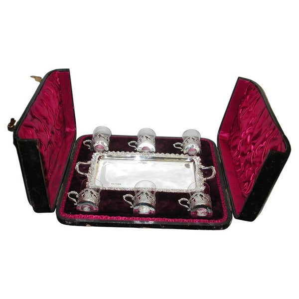 Antique Victorian Silver and Glass Liqueur Set on Tray in Fitted Box,1894