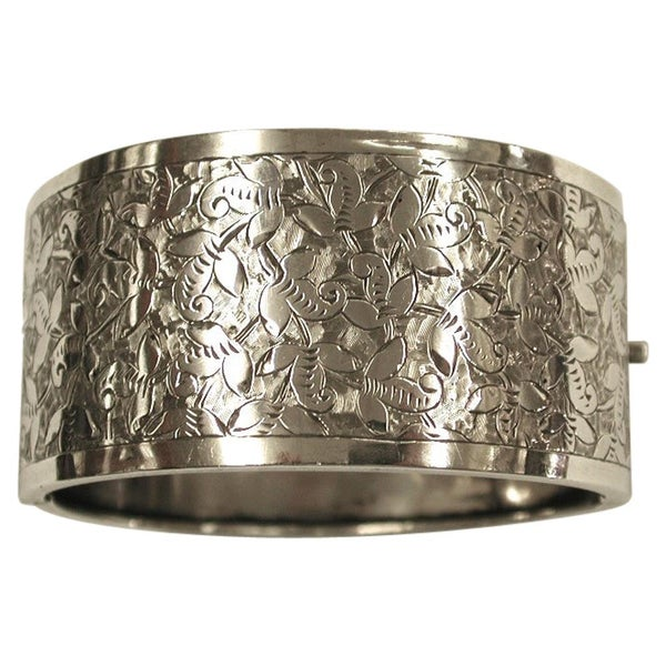 Antique Victorian Silver Bangle, James Fenton, Birmingham, 1883