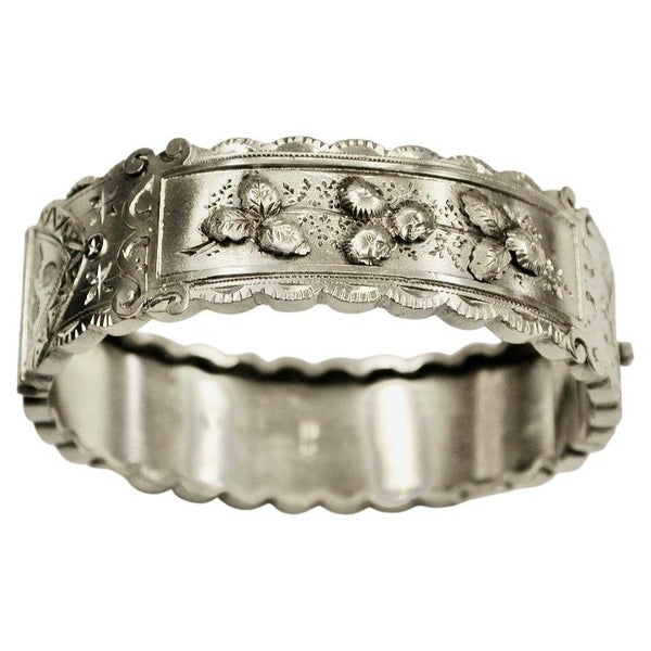 Antique Victorian Silver Bangle with Applied Embossing,Hand Engraved, B'Ham 1885