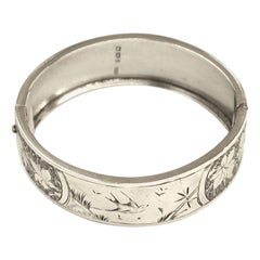 Antique Victorian Silver Bangle with Hand Engraving, Reichenberg & Co, 1883
