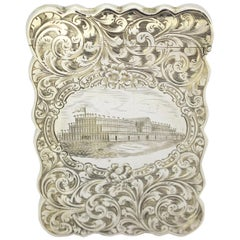 Antique Victorian Silver Card Case, Hilliard & Thomason, Birmingham, 1851