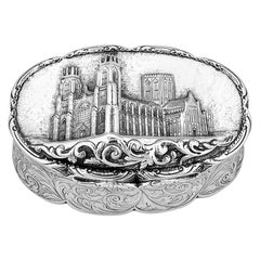 Antique Victorian Silver Castle-Top Table Snuff Box Nathaniel Mills York Minster