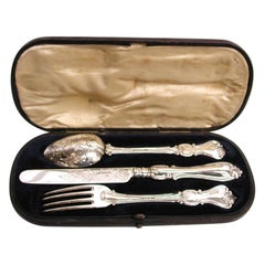 Antique Victorian Silver Child's Knife, Fork and Spoon Set in Leather Case, 1852