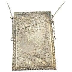 Antique Victorian Silver Coin Metal Calling Card Case #3786