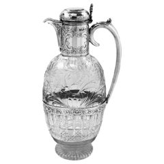 Antique Victorian Silver & Cut Glass Claret Jug / Wine Decanter, 1895