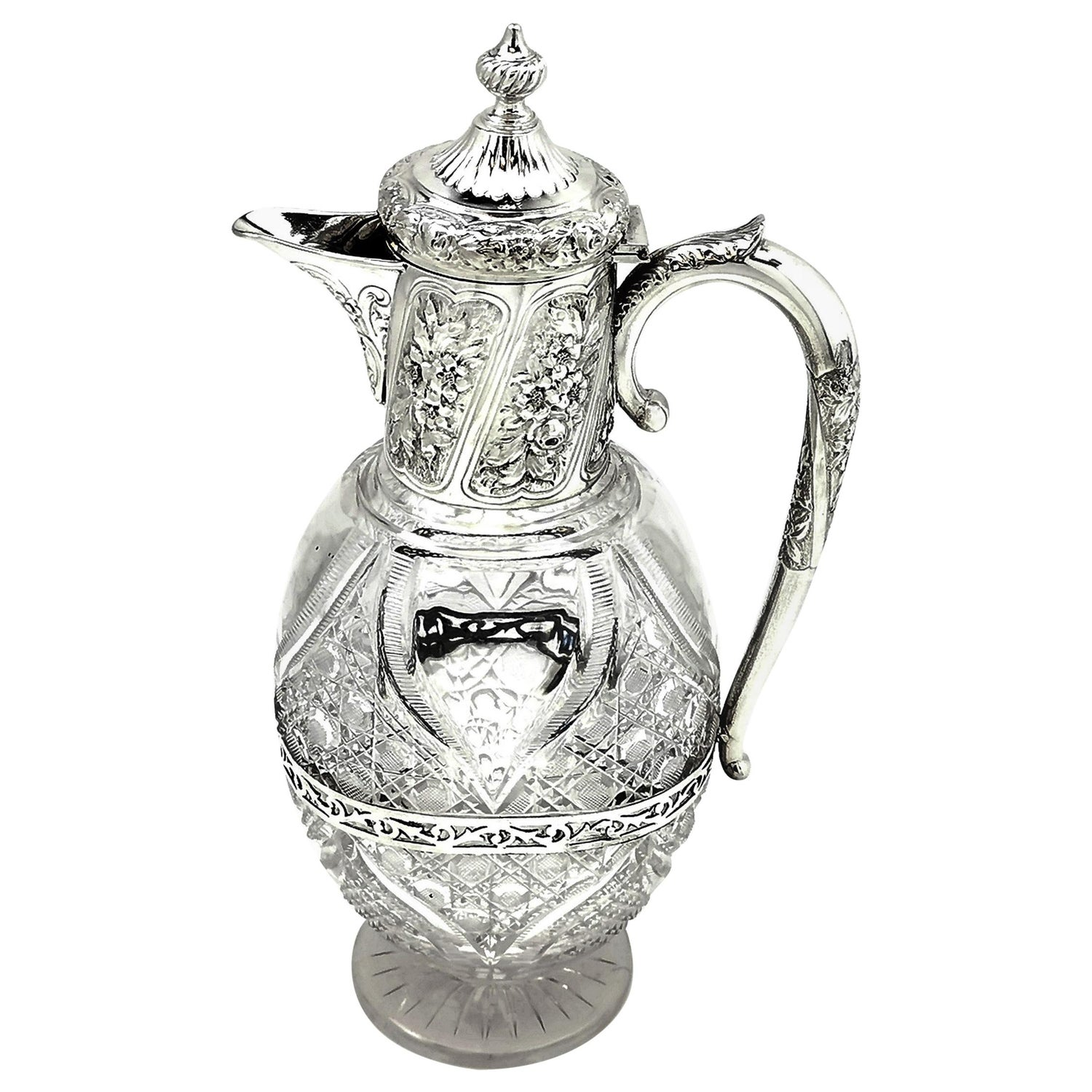 Antique Victorian Silver and Cut Glass Claret Jug / Wine Decanter Ewer, 1900