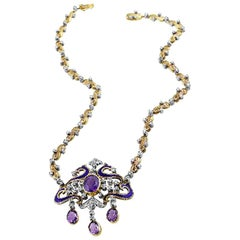 Antique Victorian Silver Diamond Amethyst Necklace and Earrings
