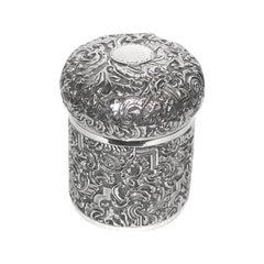 Antique Victorian Silver Embossed Dressing Table Box, 1889, Saunders & Shepherd