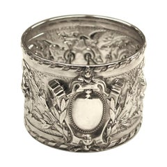 Antique Victorian Silver Embossed Napkin Ring, 1899, by Henry Atkins