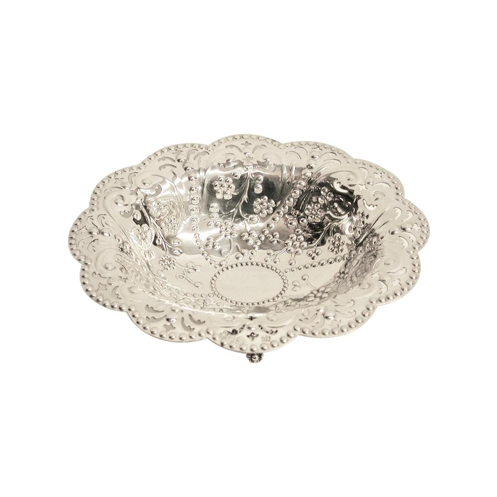 Antique Victorian Silver Embossed & Pierced Sweet Dish, Dated 1891, London