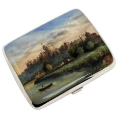 Antique Victorian Silver & Enamel Cigarette Case, Windsor Castle, 1886