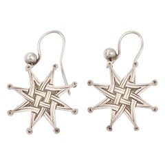 Antique Victorian Silver Engraved Celtic Design Star Drop Earrings